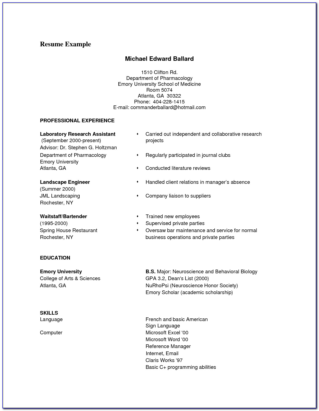 A Good Resume Format Pdf Civil Engineer Sample Resume For Fresher Inside Good Examples Of Resumes