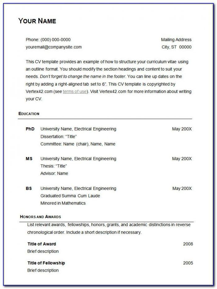 Basic Resume Format Free Download