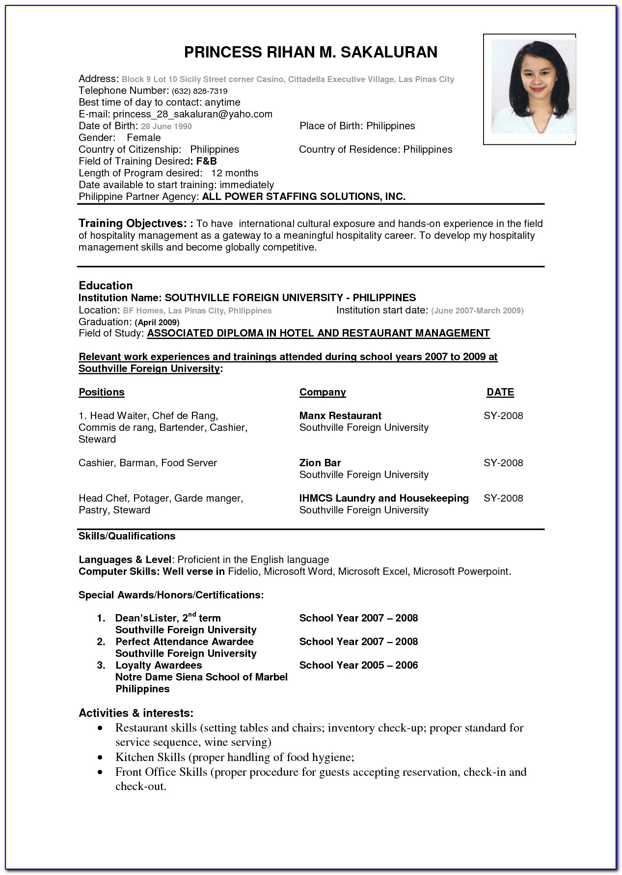 Basic Resume Template Download