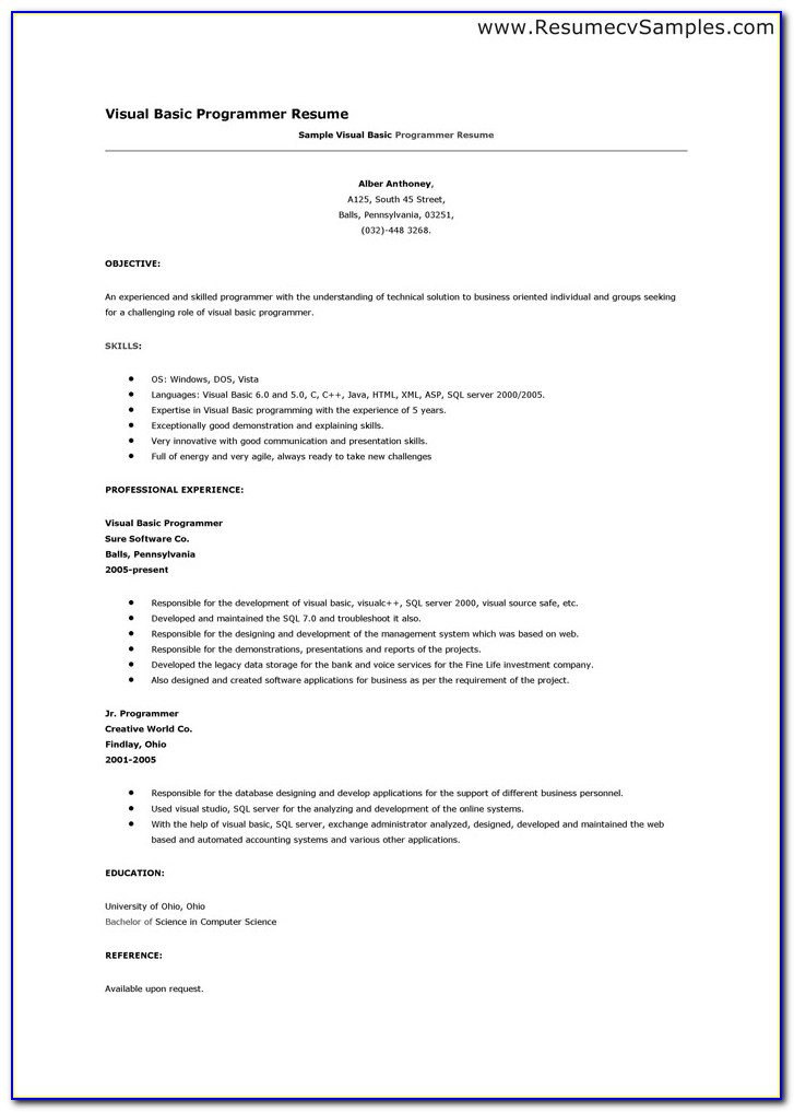 Basic Resumes Examples