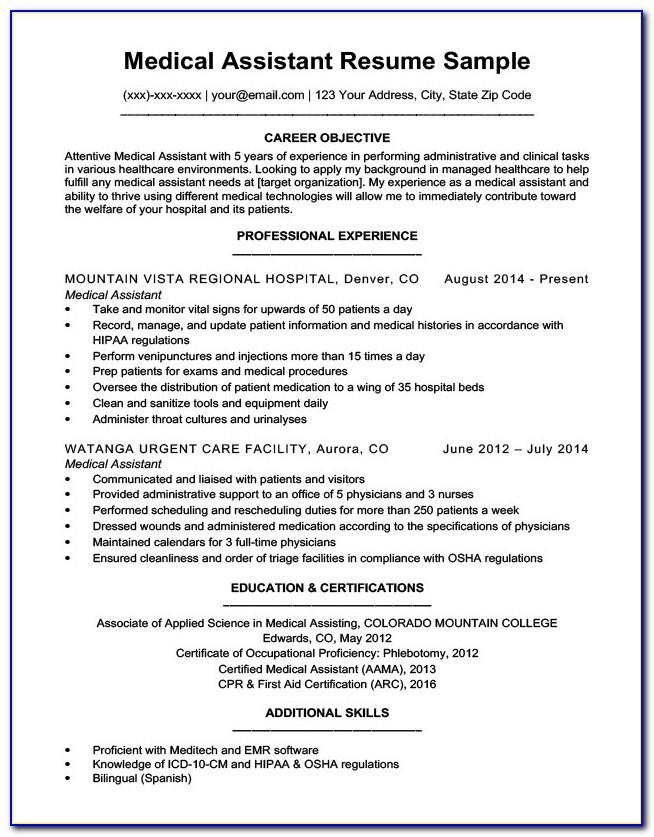 Best Resume Format For Medical Assistant