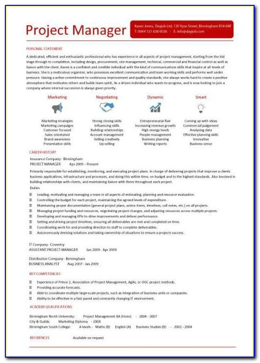 Best Resume Template For Project Manager