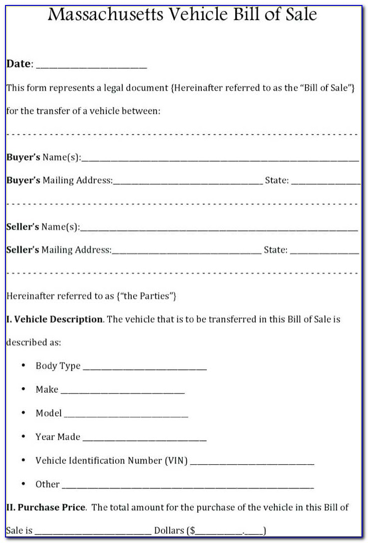 Bill Of Sale Car Ma Template