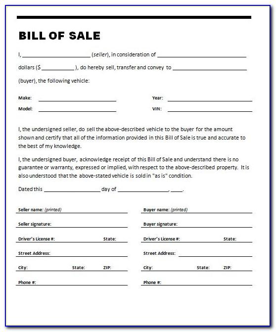 Bill Of Sale Invoice Form