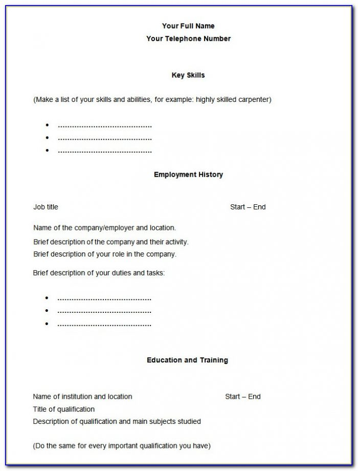Blank Resume Examples Free