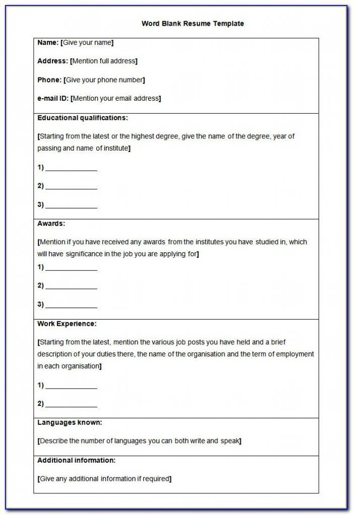 Blank Resume Format Pdf Download
