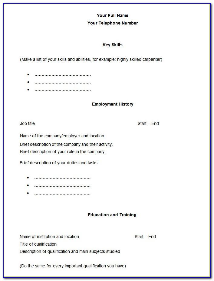 Blank Sample Resume Format