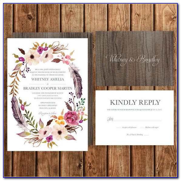 Boho Floral Wedding Invitation Template