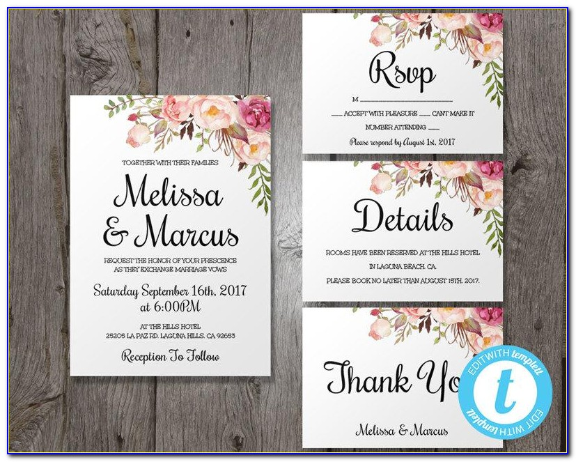 Boho Wedding Invitations Templates