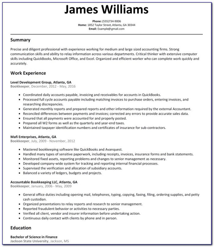 Bookkeeper Cv Template South Africa