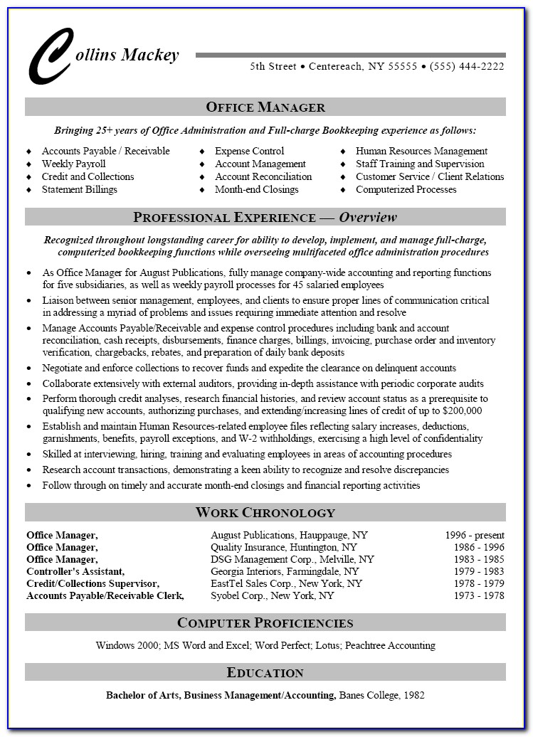 Bookkeeping Resume Templates Free
