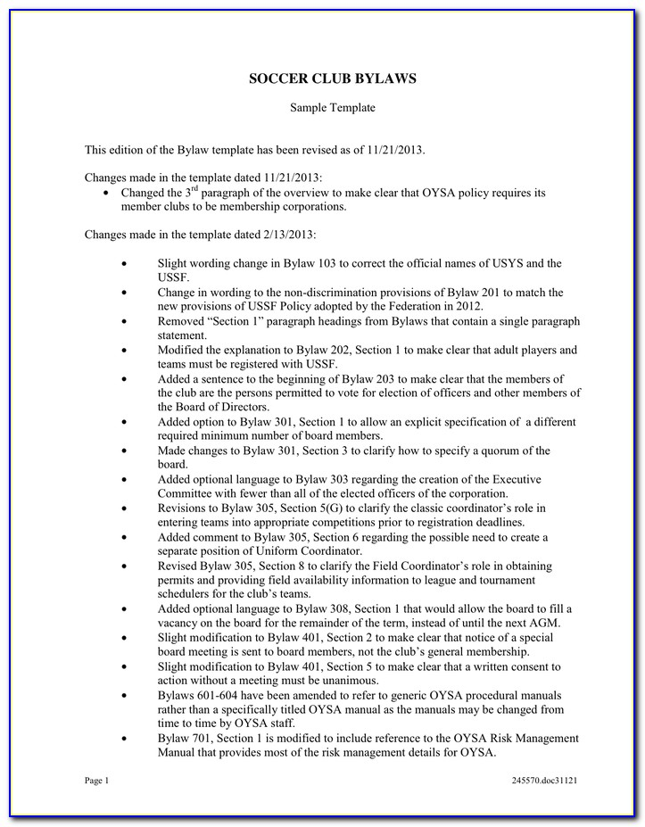 Booster Club Bylaws Template