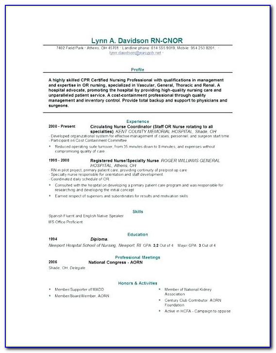 Bsc Nursing Resume Format Doc