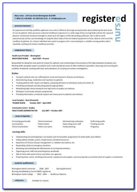 Bsc Nursing Resume Format Free Download