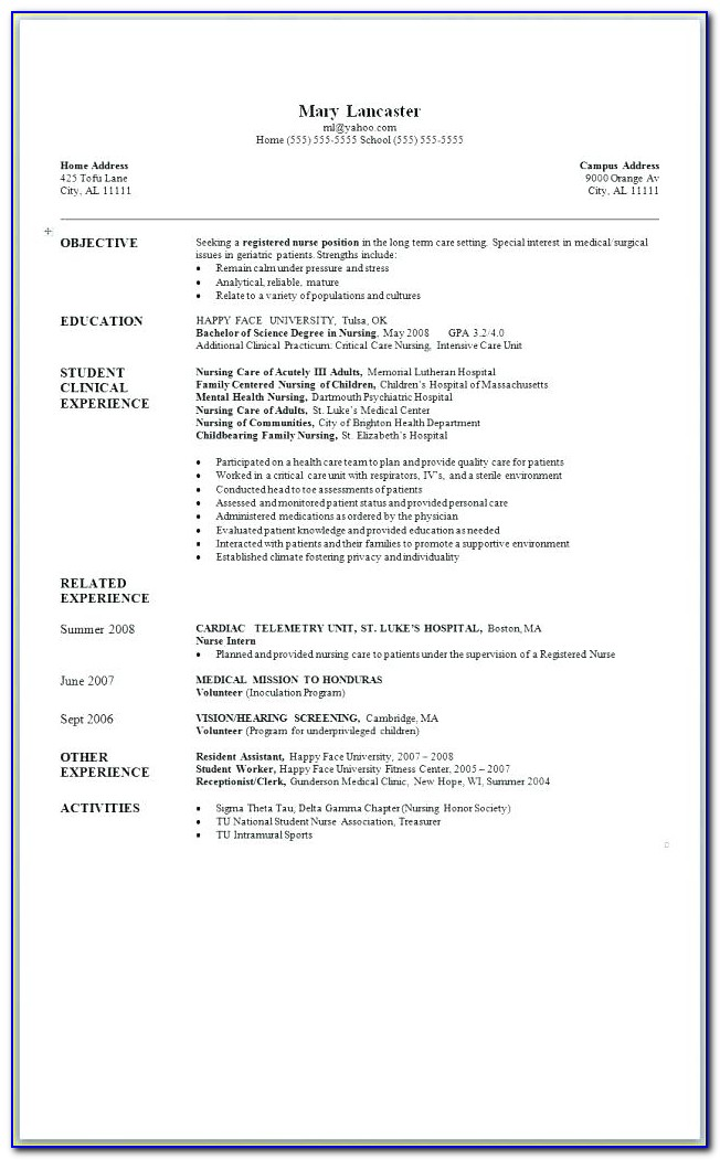 Bsc Nursing Resume Format Pdf Download