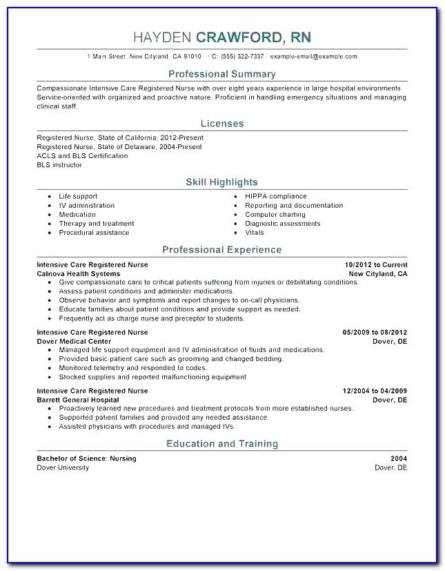 Bsc Nursing Resume Format Word