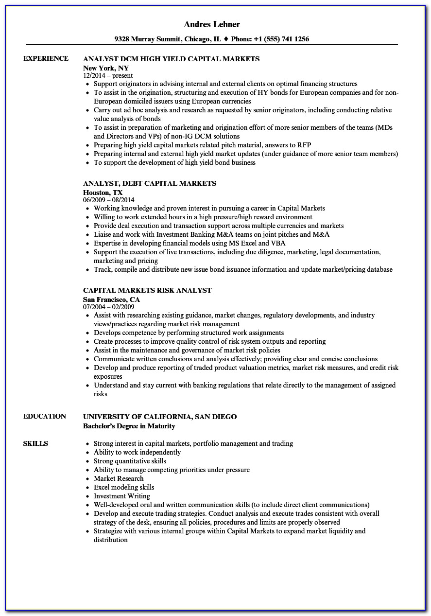 Business Analyst Capital Market Sample Resume