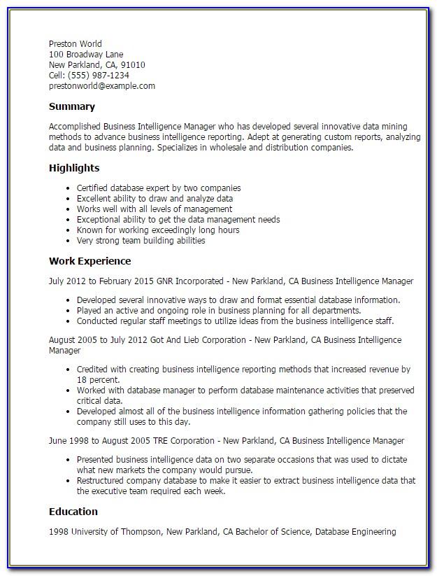 Business Intelligence Consultant Resume Sample
