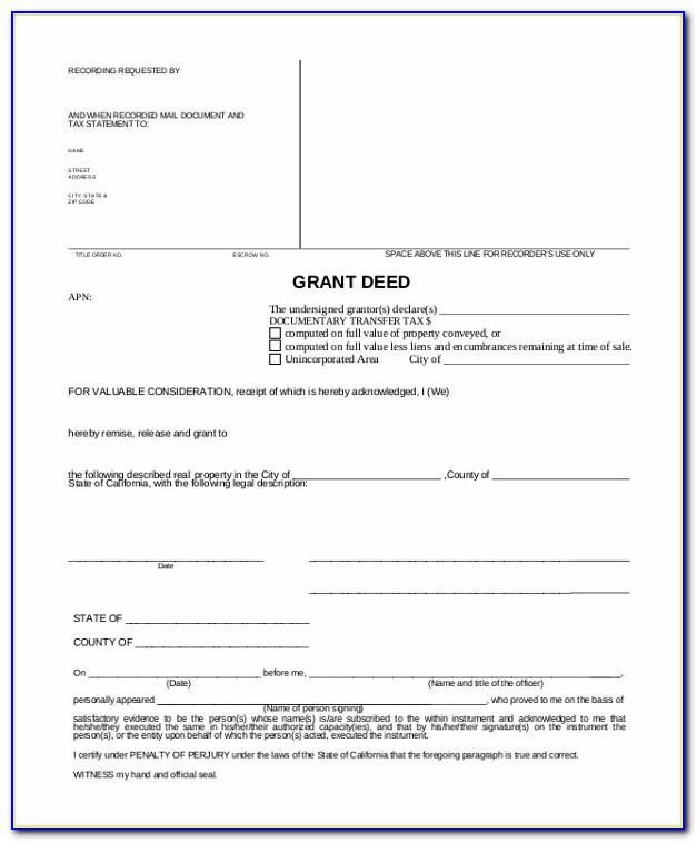 California Grant Deed Word Document