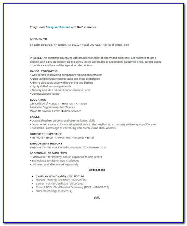 Caregiver Resume Example 7 Free Word Pdf Documents Download Caregiver Resume No Experience Caregiver Resume No Experience