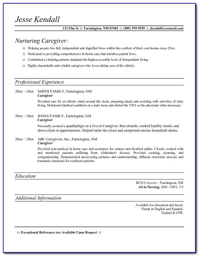 Caregiver Resume Samples Free