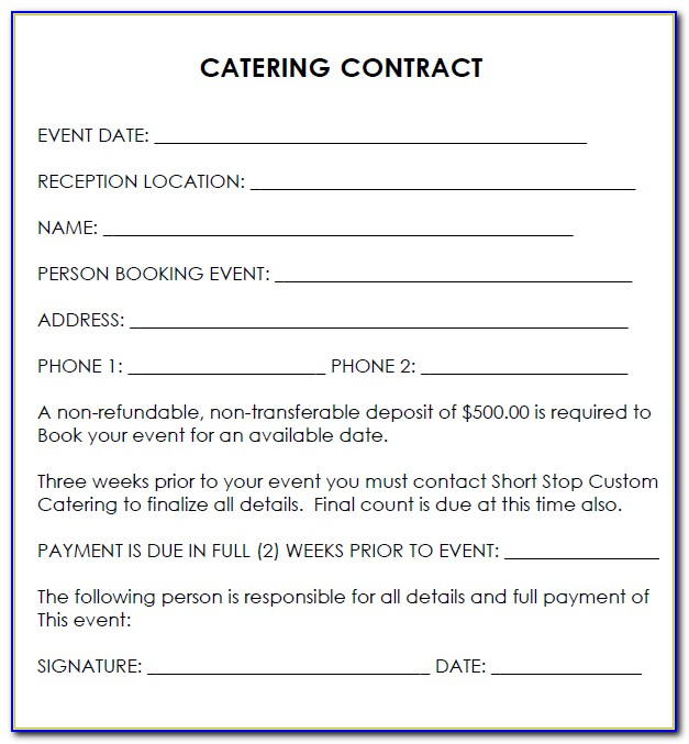Catering Contract Templates Free