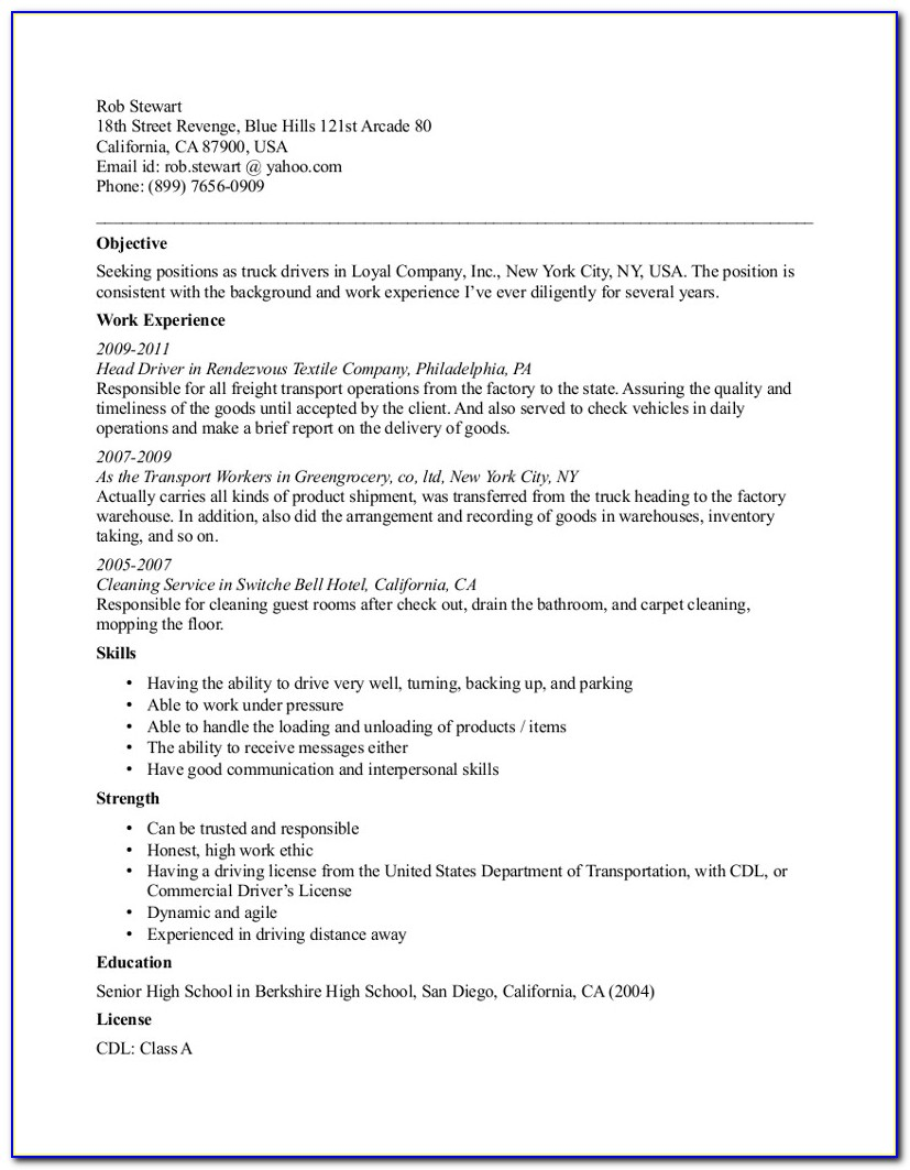 Cdl Truck Driver Resumes