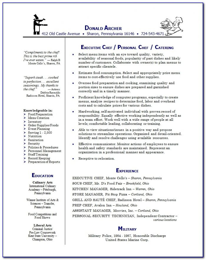 Sample Of Chef Resume - Docs.pictimes.net