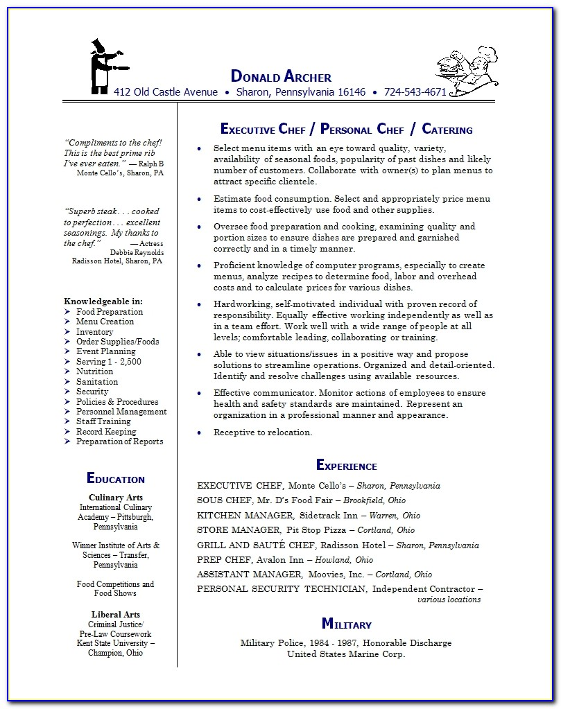 Resume Examples Resume Template Chef Cook Sample Writing Cover Executive Chef Sample Resume Executive Chef Sample Resume