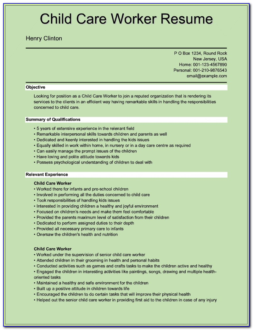 Child Care Cv Templates Free