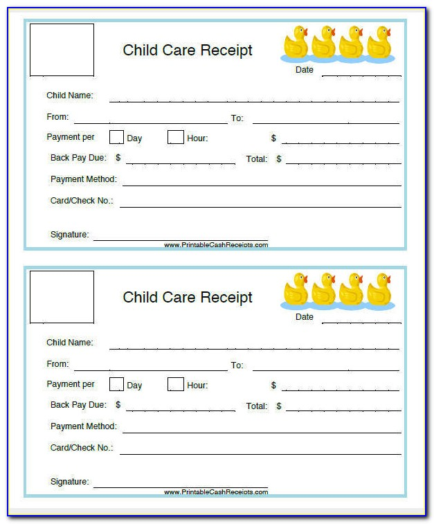 Child Care Receipt Template Canada