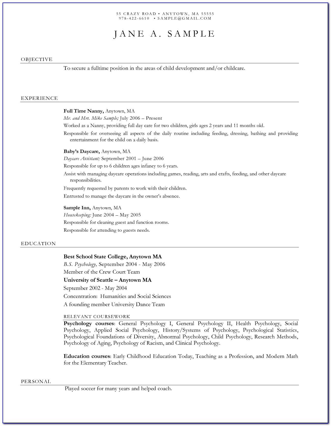 Child Care Resume Templates Free