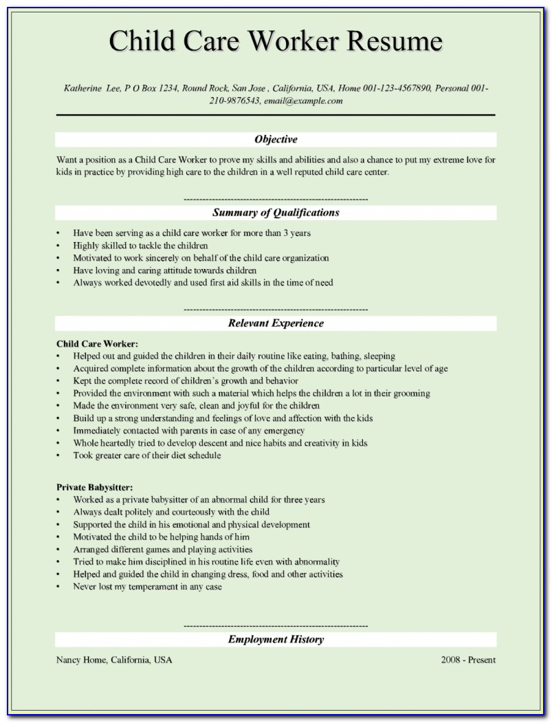 Child Care Provider Resume | Template Design In Child Care Provider Resume Template