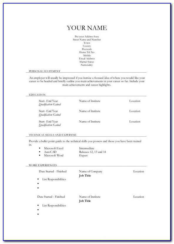 Classic Resume Template Word