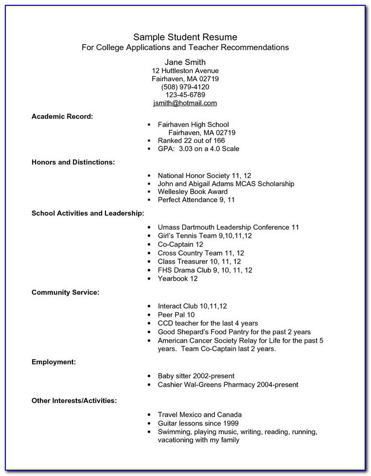 College Admission Resume Templates Free