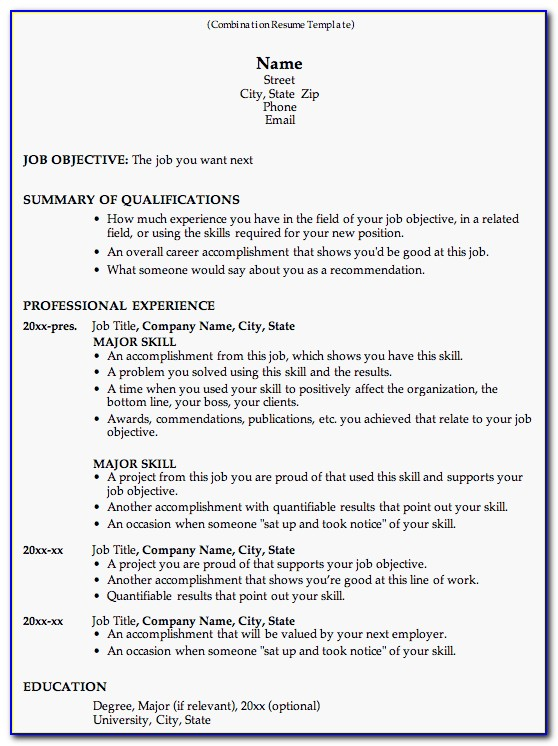 Combination Resume Builder