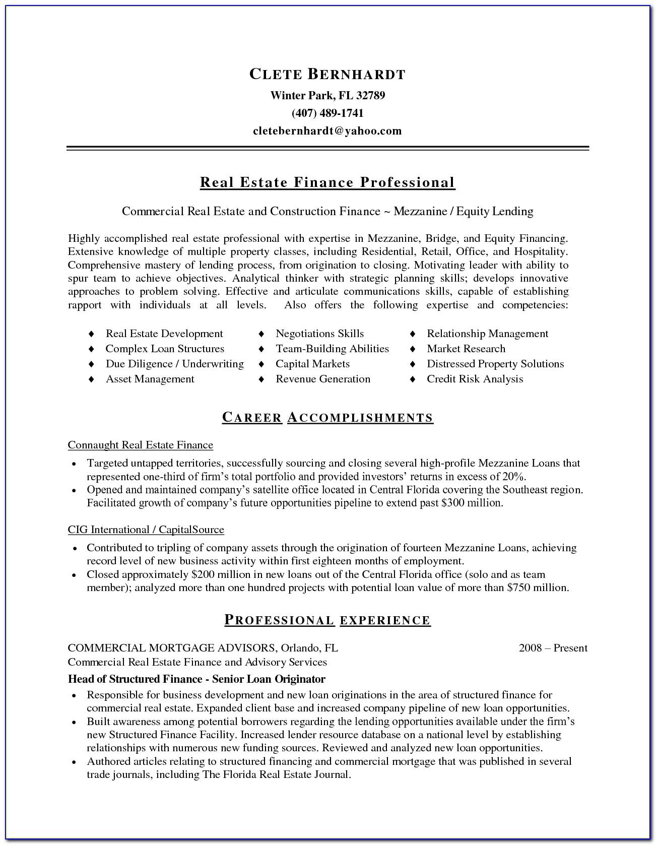Commercial Real Estate Broker Resume Sample