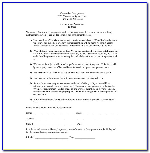 Consignment Sales Contract Template