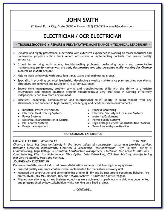 Construction Electrician Resume Templates