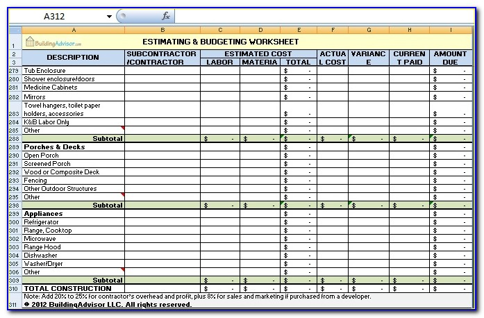 Construction Estimate Template Microsoft Office