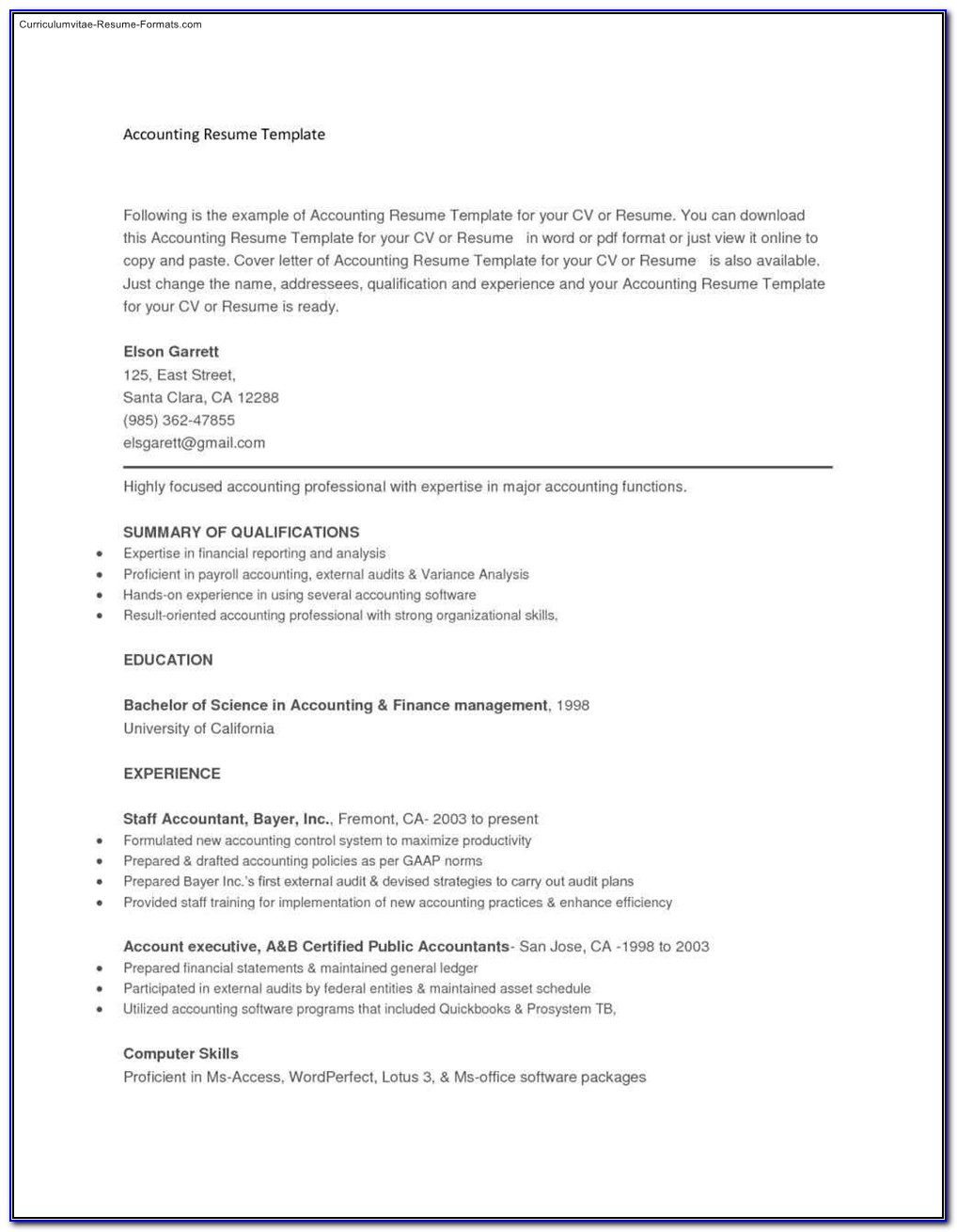 Copy And Paste Resume Templates