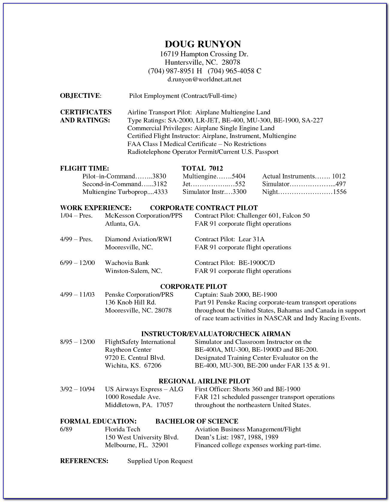 Corporate Pilot Resume Template