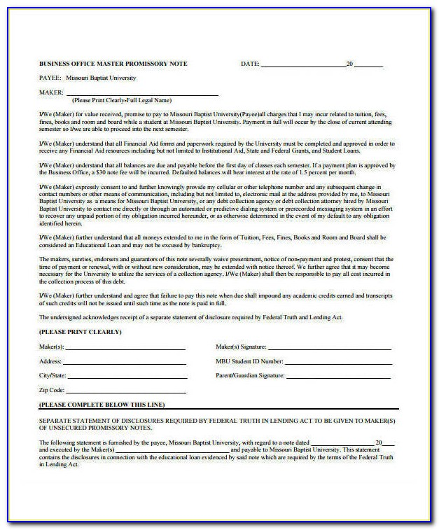 Corporate Promissory Note Template