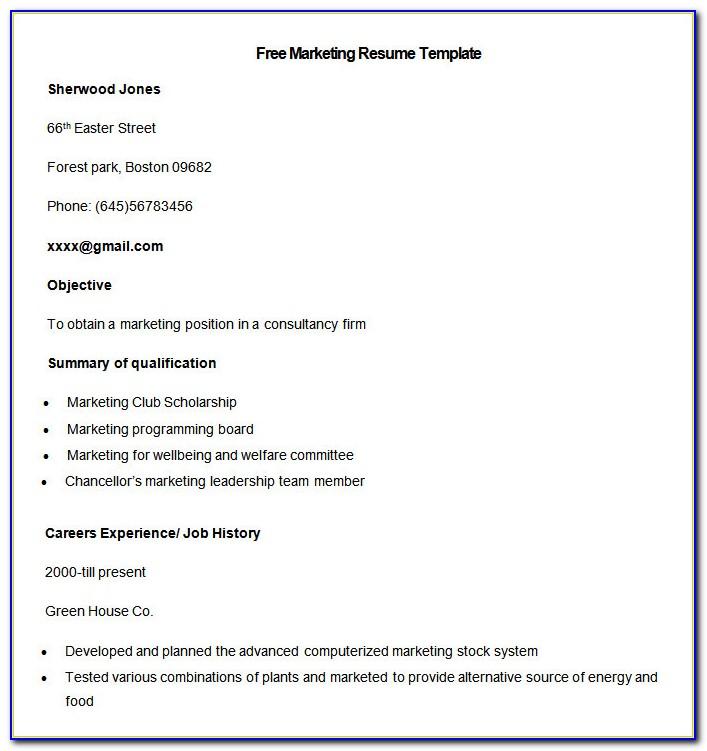 Creative Marketing Resume Templates Free