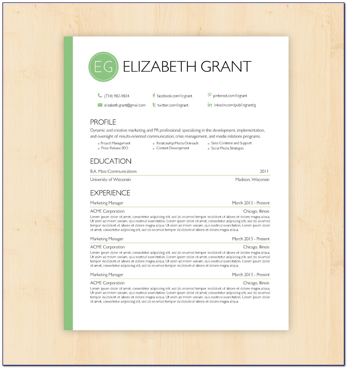 Creative Resume Templates Microsoft Word Free