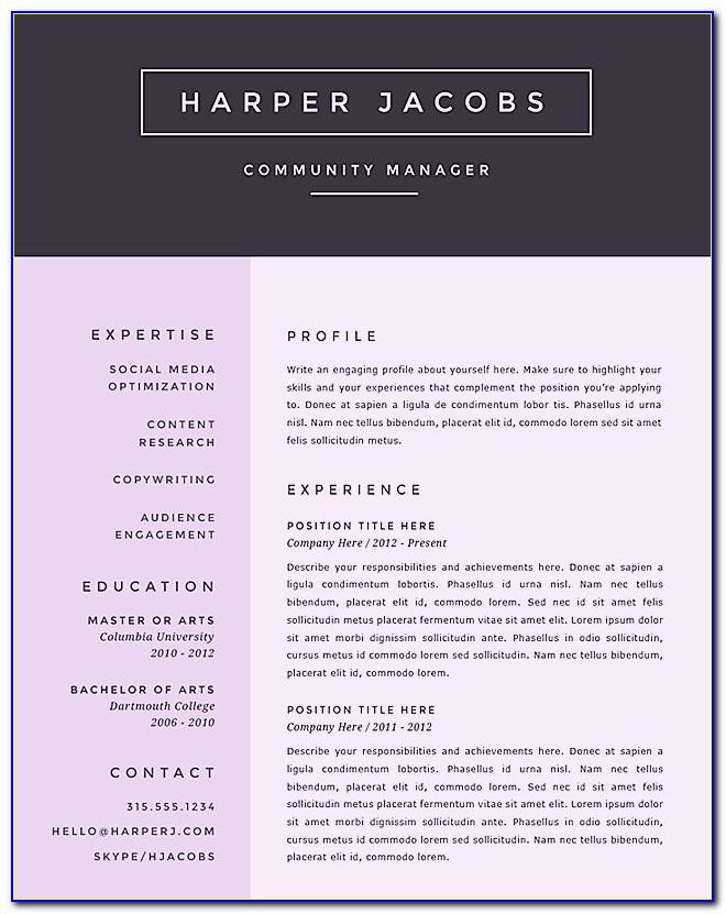 Creative Resume Templates Ms Word Free