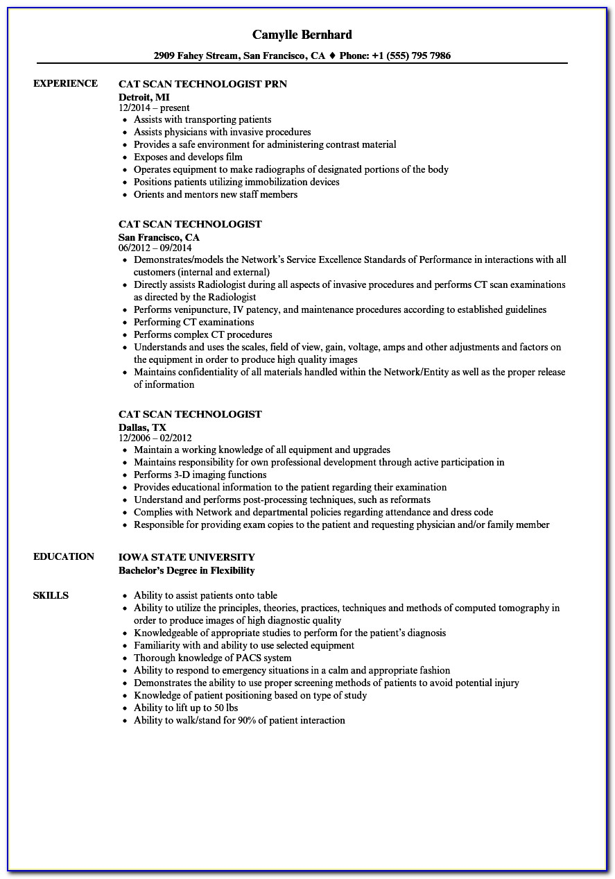 Ct Scan Technician Resume Format