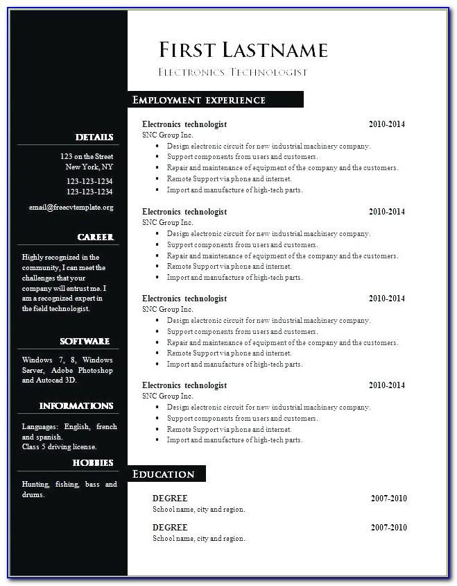 Curriculum Vitae (cv) Templates Download