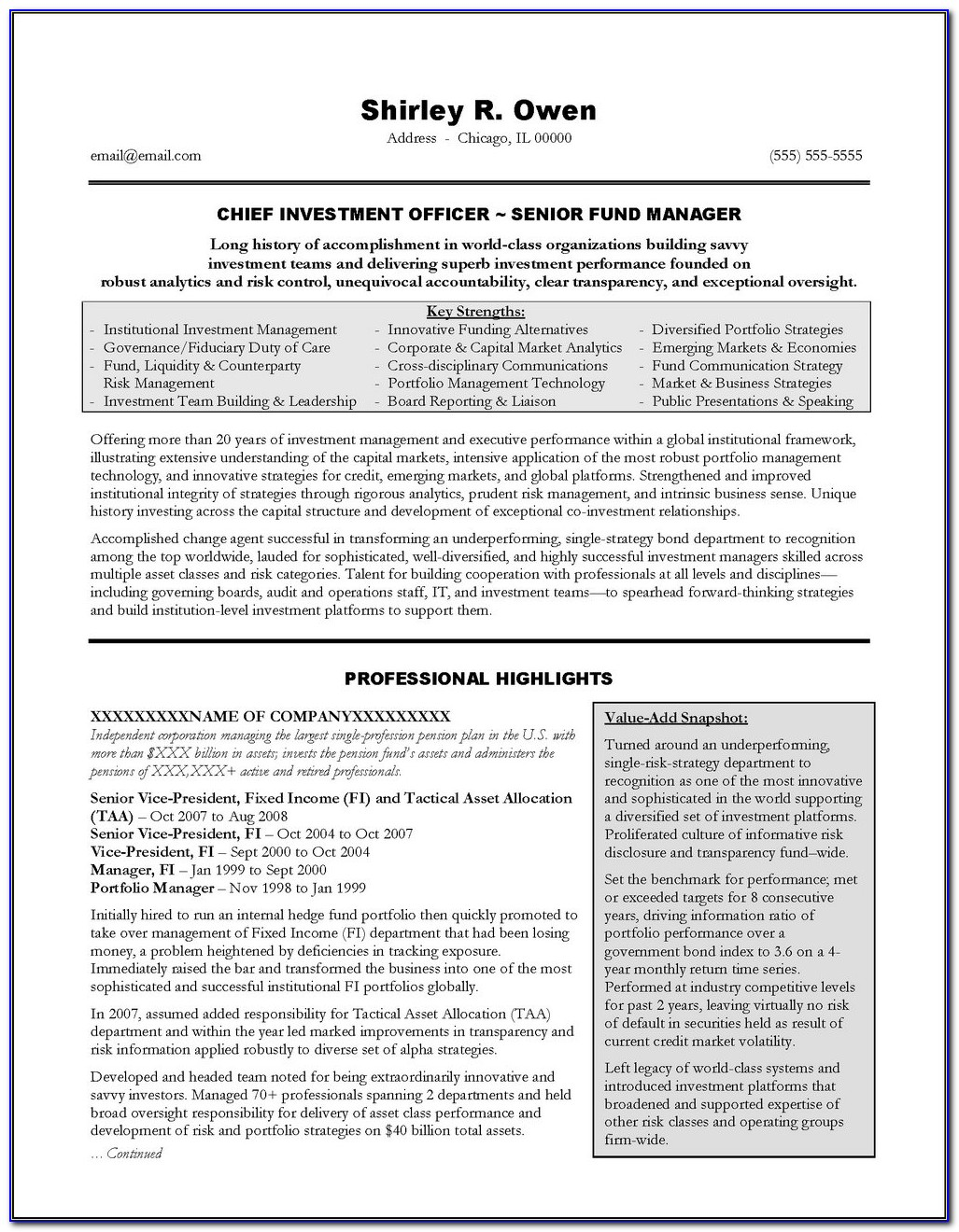 Curriculum Vitae Examples For Executives