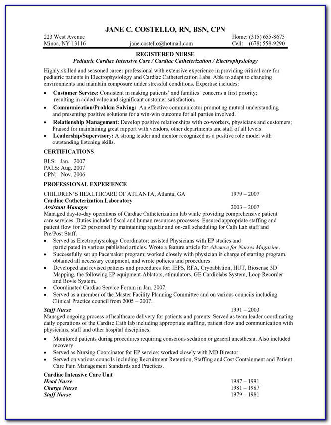 Curriculum Vitae Registered Nurse Sample